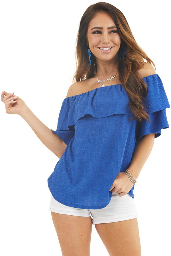 Royal Blue Textured Off Shoulder Top with Overlay Detail front close up