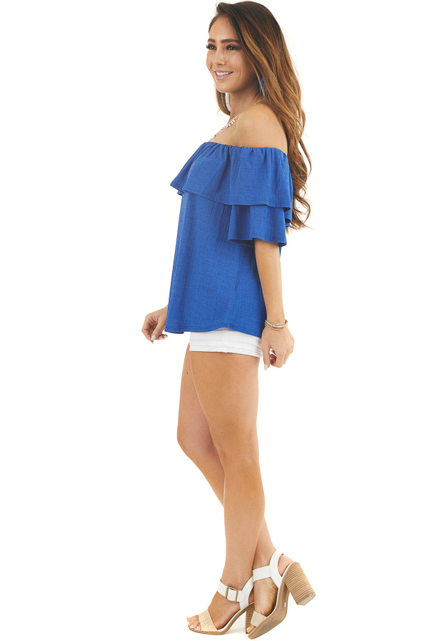 Royal Blue Textured Off Shoulder Top with Overlay Detail side full body