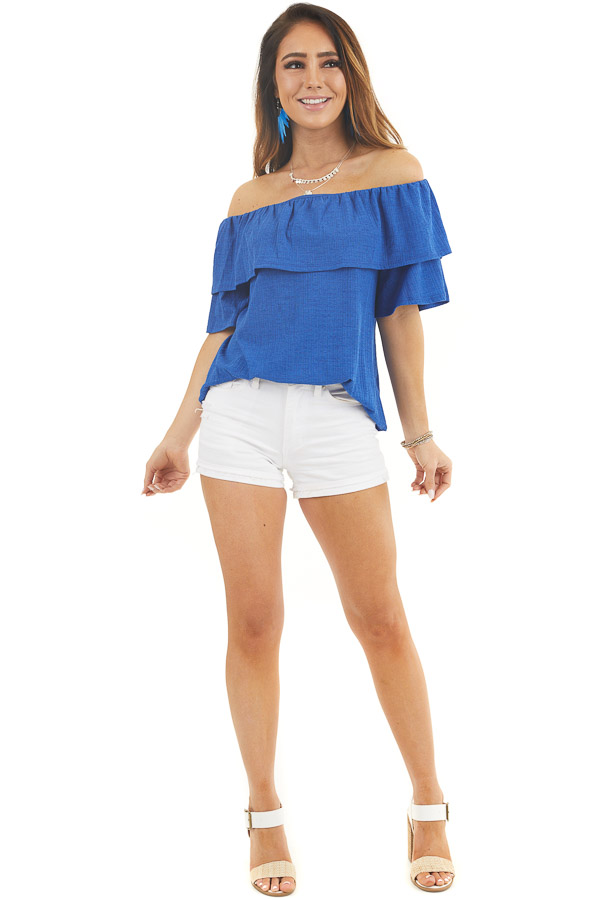 Royal Blue Textured Off Shoulder Top with Overlay Detail front full body