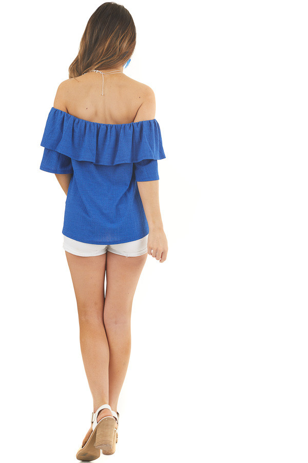 Royal Blue Textured Off Shoulder Top with Overlay Detail back full body