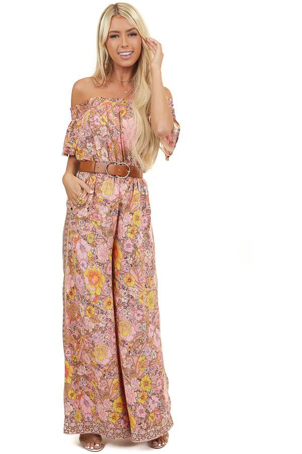 Faded Coral Off Shoulder Floral Jumpsuit with Smocked Detail