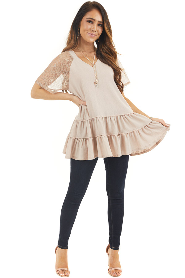 Light Latte Knit Top with Laced Short Sleeves and V Neck front full body