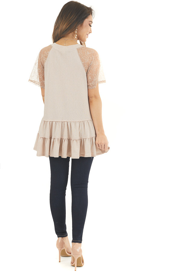 Light Latte Knit Top with Laced Short Sleeves and V Neck back full body