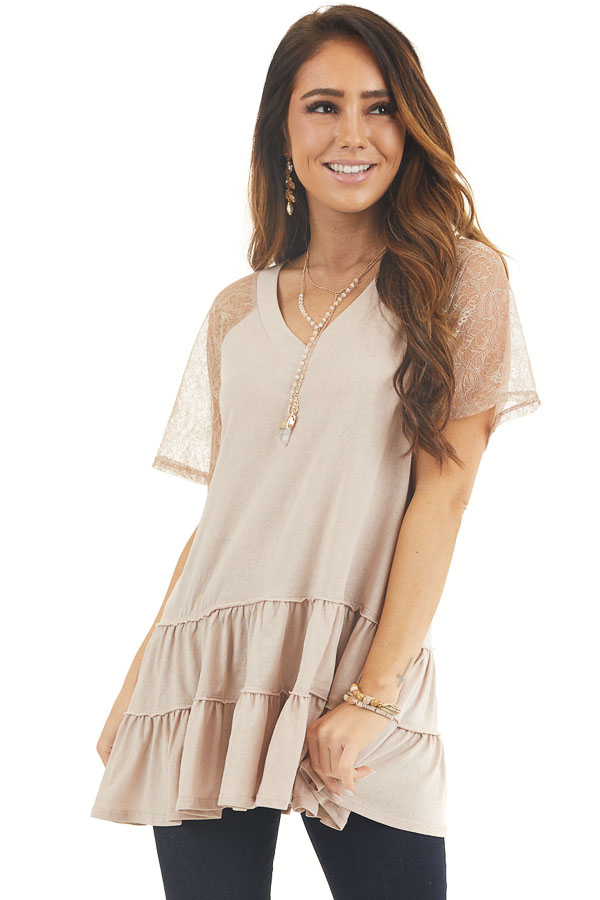 Light Latte Knit Top with Laced Short Sleeves and V Neck front close up