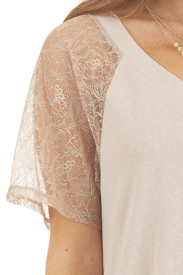Light Latte Knit Top with Laced Short Sleeves and V Neck detail