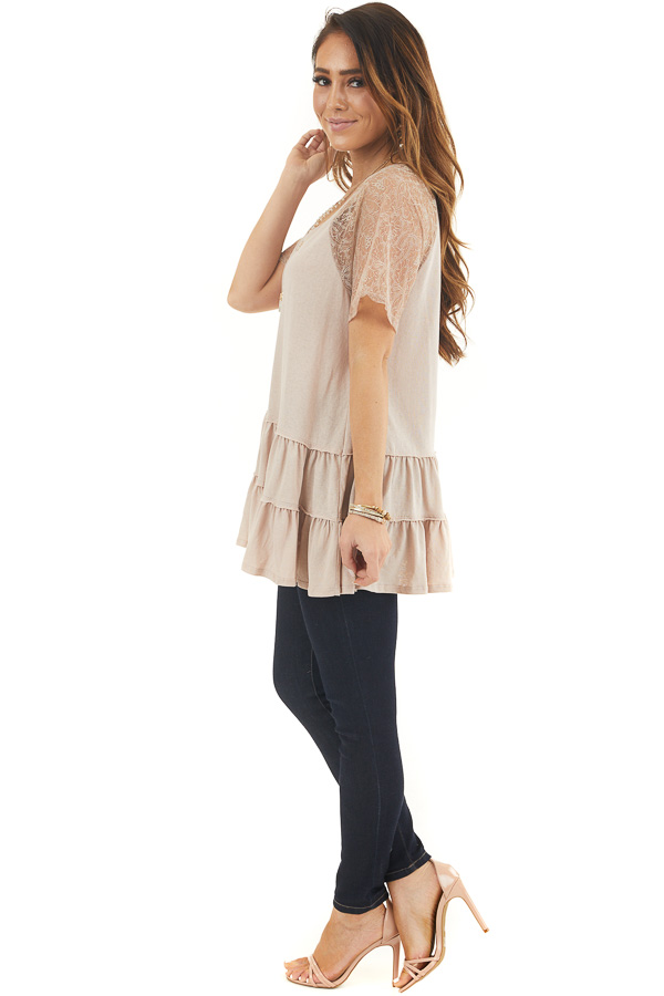 Light Latte Knit Top with Laced Short Sleeves and V Neck side full body