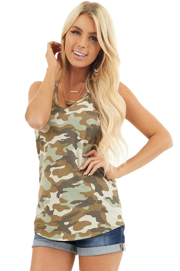 Olive Camo Waffle Knit Tank Top with Racerback front close up