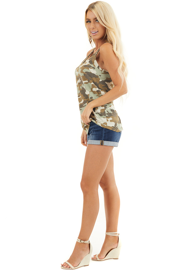 Olive Camo Waffle Knit Tank Top with Racerback side full body