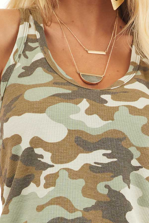 Olive Camo Waffle Knit Tank Top with Racerback detail