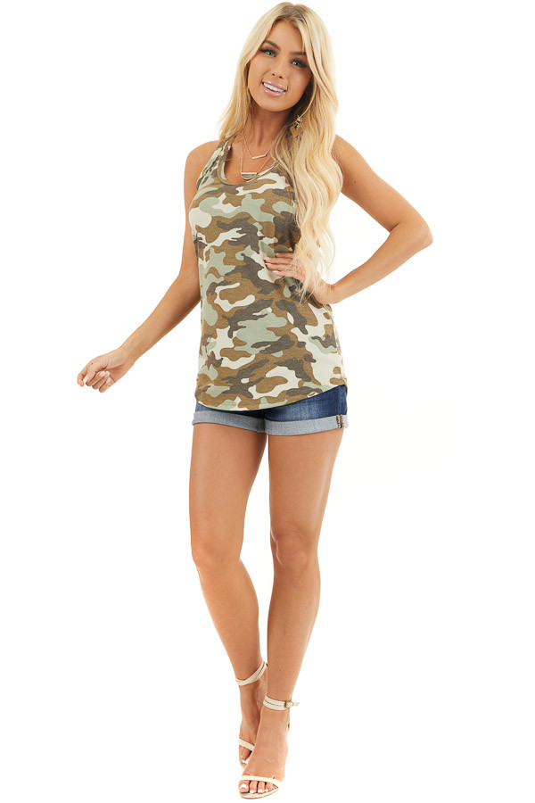 Olive Camo Waffle Knit Tank Top with Racerback front full body