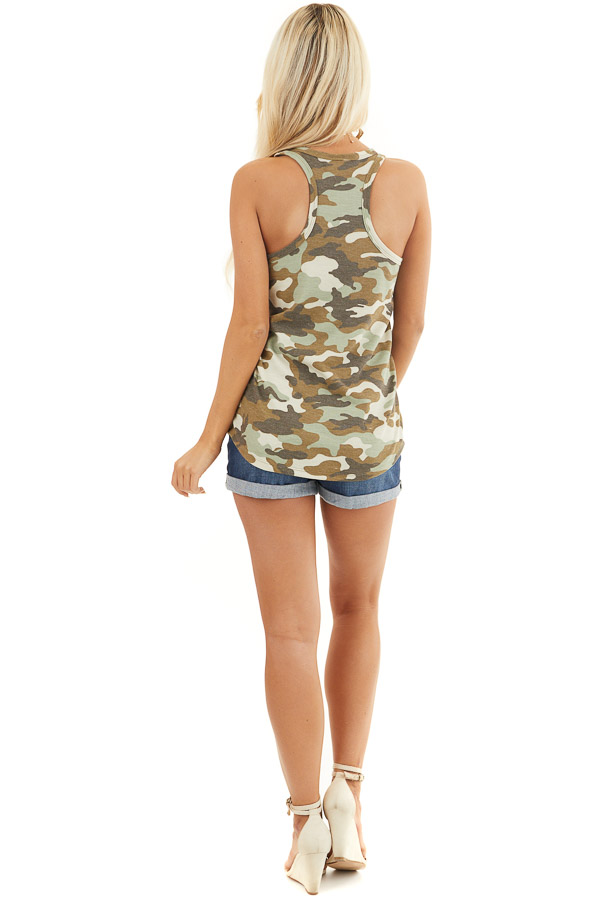 Olive Camo Waffle Knit Tank Top with Racerback back full body