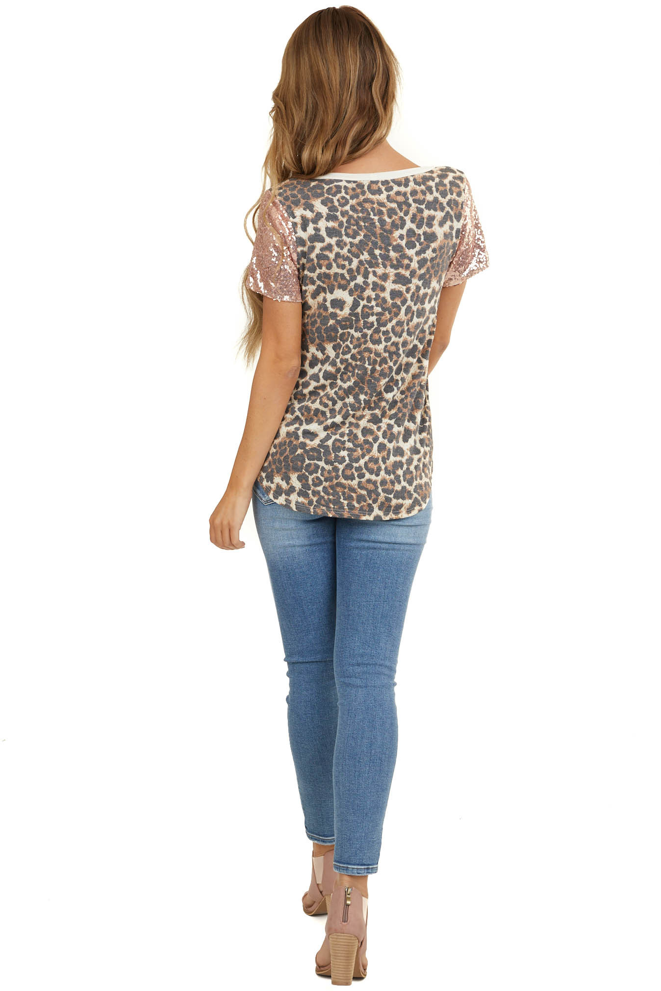 Cream Leopard Print Knit Top with Rose Gold Sequin Contrast
