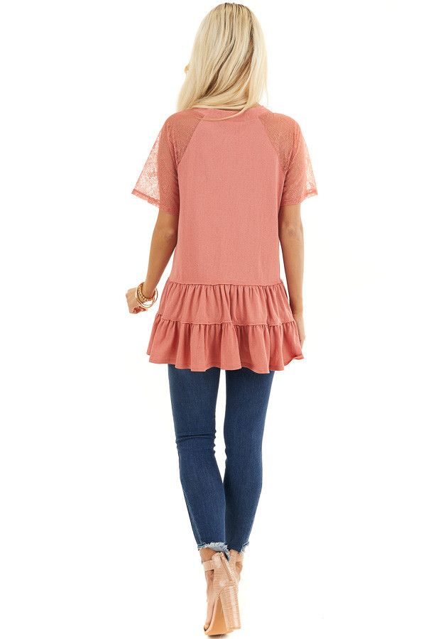 Terracotta Knit Top with Laced Short Sleeves and V Neck back full body