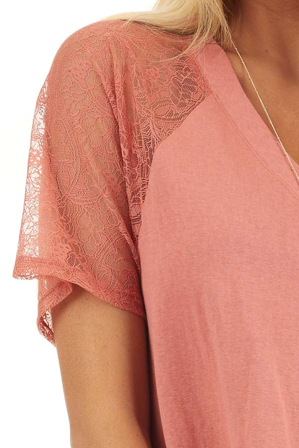 Terracotta Knit Top with Laced Short Sleeves and V Neck detail