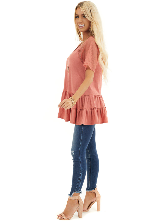 Terracotta Knit Top with Laced Short Sleeves and V Neck side full body