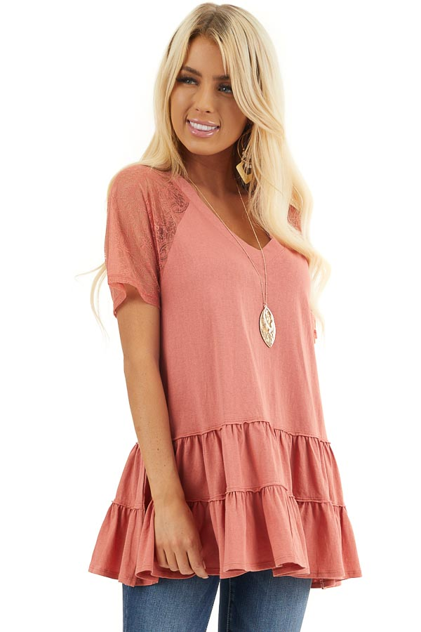 Terracotta Knit Top with Laced Short Sleeves and V Neck front close up