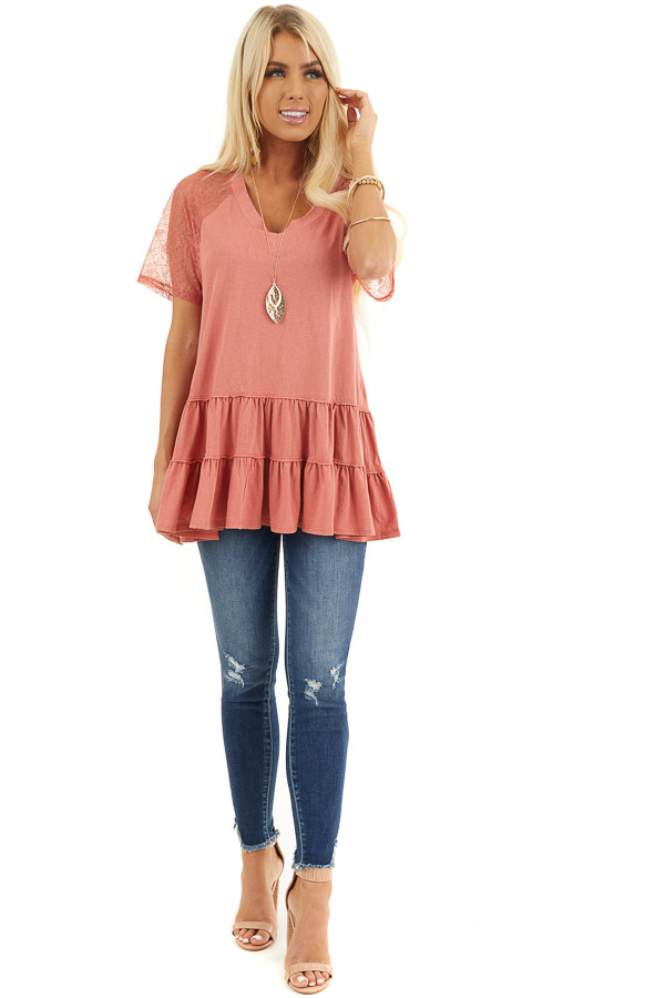 Terracotta Knit Top with Laced Short Sleeves and V Neck front full body