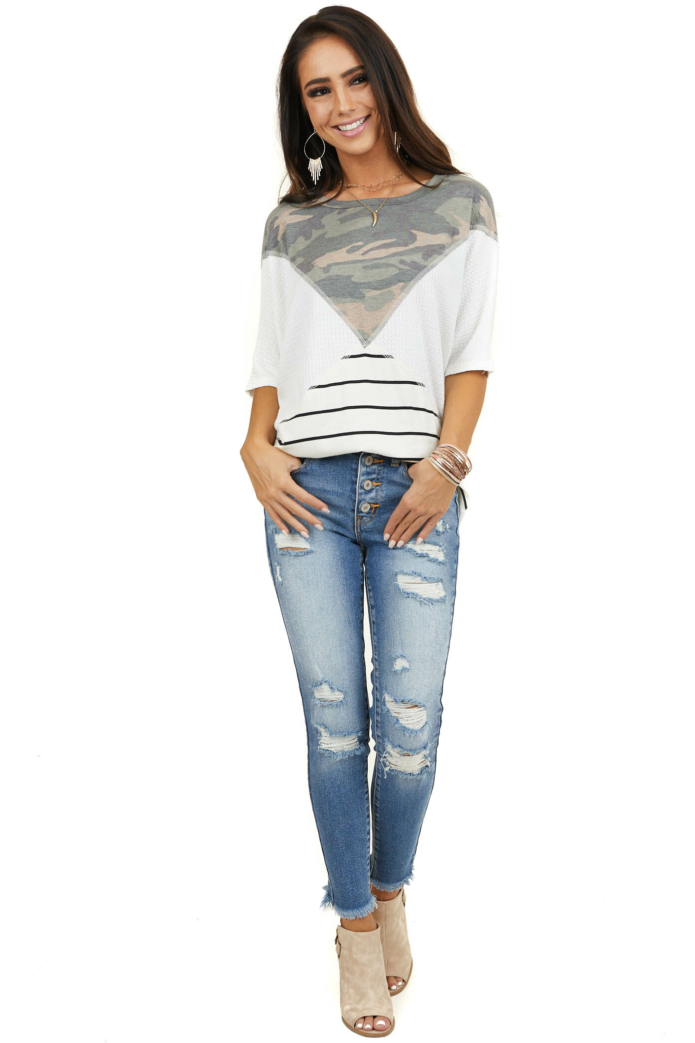 White Waffle Knit Top with Camo and Striped Contrasts