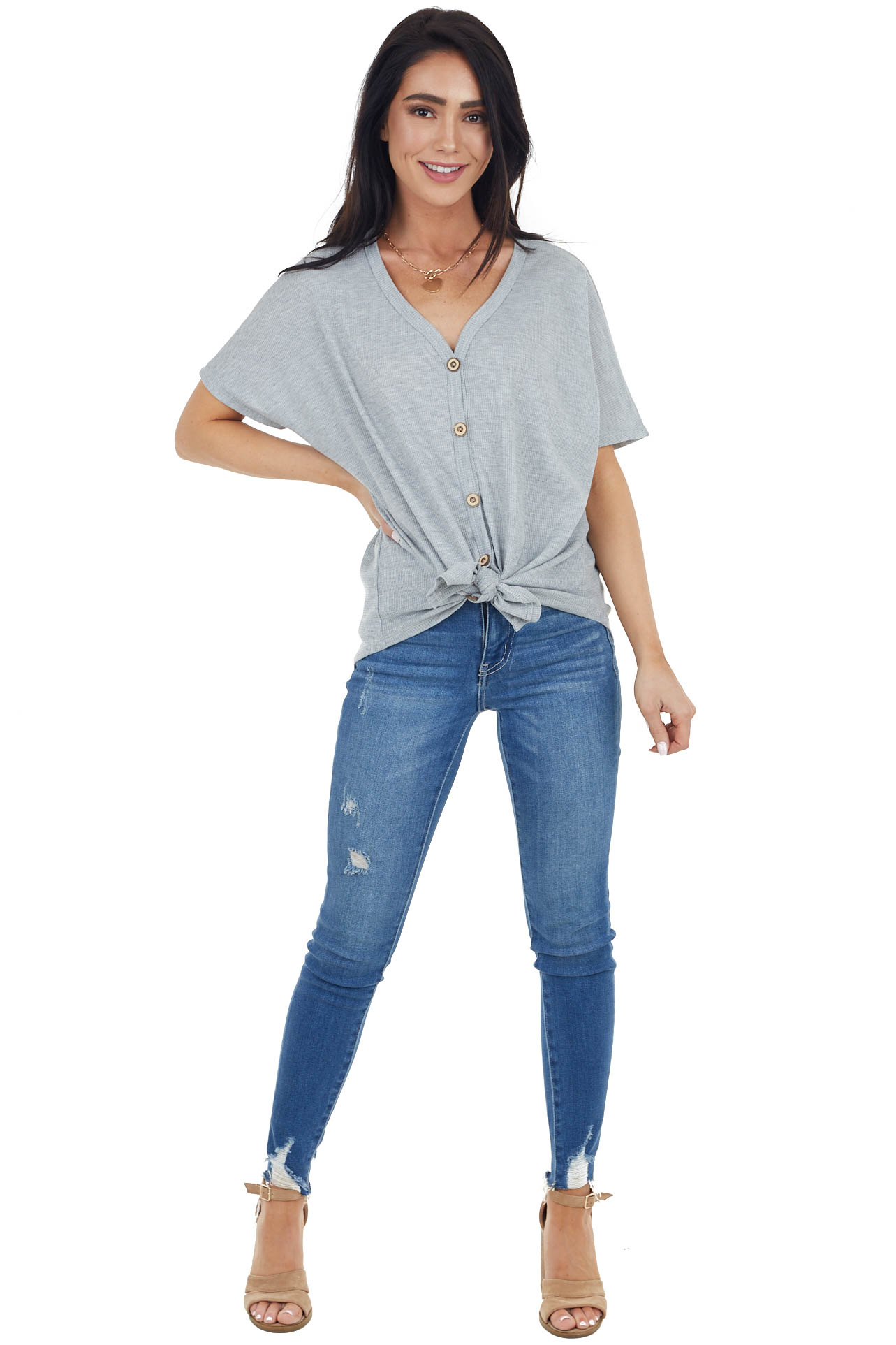 Heather Grey Button Up Waffle Knit Top with Knot Detail