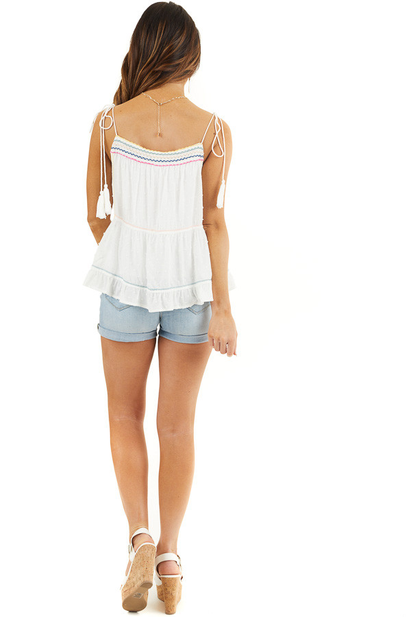 White Swiss Dot Sleeveless Top with Colorful String Details back full body
