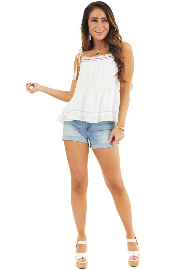 White Swiss Dot Sleeveless Top with Colorful String Details front full body