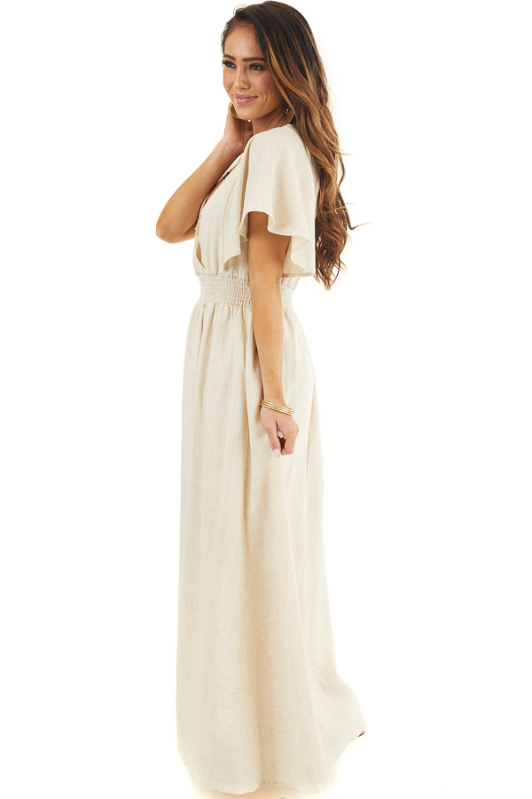Oatmeal Short Sleeve Maxi Dress with V Neck and Side Slit side full body