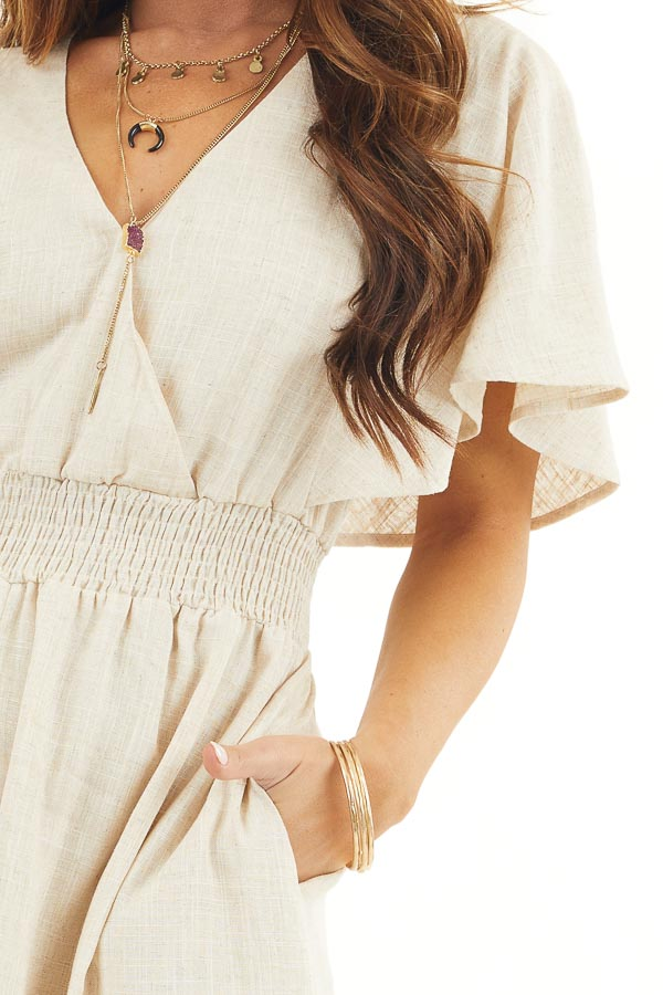 Oatmeal Short Sleeve Maxi Dress with V Neck and Side Slit detail