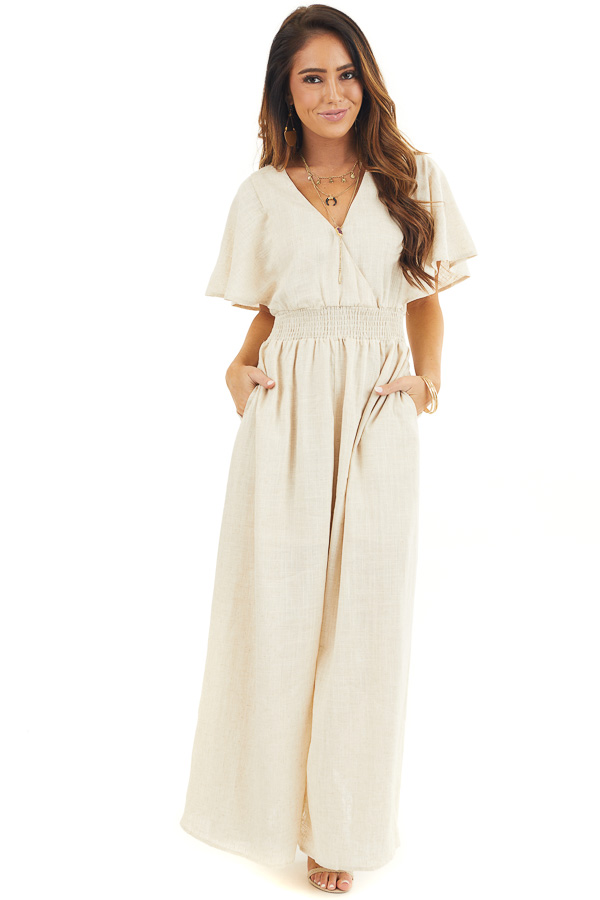 Oatmeal Short Sleeve Maxi Dress with V Neck and Side Slit front full body