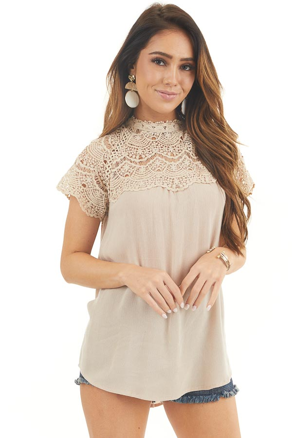 Latte Mock Neck Woven Top with Sheer Lace Yoke front close up