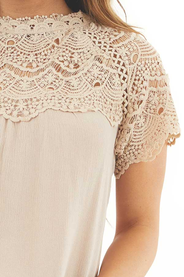 Latte Mock Neck Woven Top with Sheer Lace Yoke detail