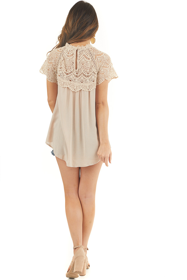 Latte Mock Neck Woven Top with Sheer Lace Yoke back full body