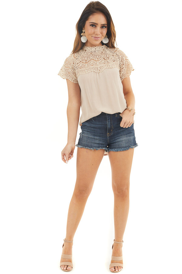 Latte Mock Neck Woven Top with Sheer Lace Yoke front full body