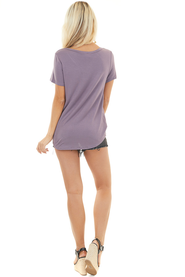 Dusty Lavender Short Sleeve Knit Top with Front Knot Detail
