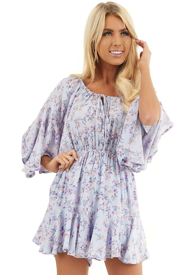 Pale Periwinkle Floral 3/4 Sleeve Romper with Front Tie front close up