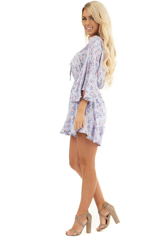 Pale Periwinkle Floral 3/4 Sleeve Romper with Front Tie side full body