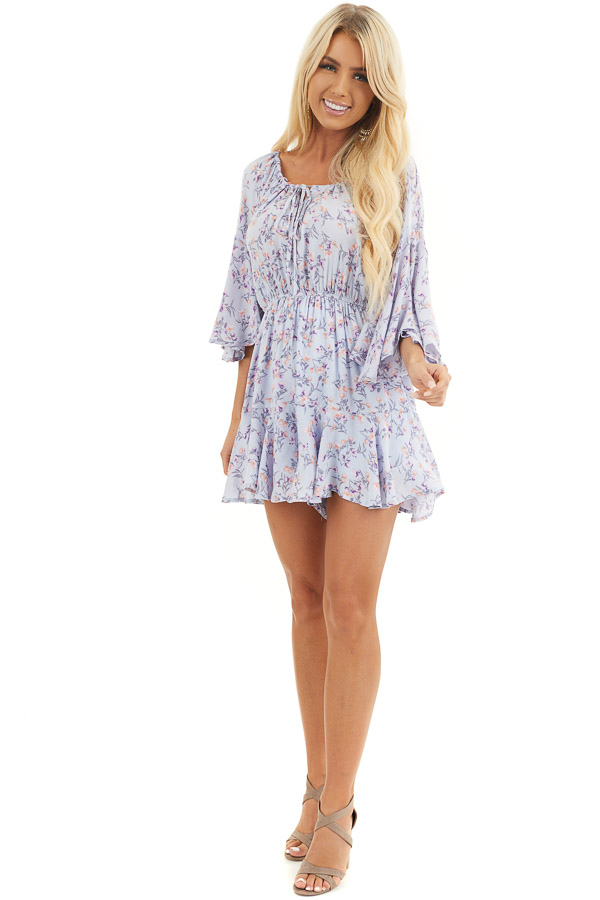 Pale Periwinkle Floral 3/4 Sleeve Romper with Front Tie front full body