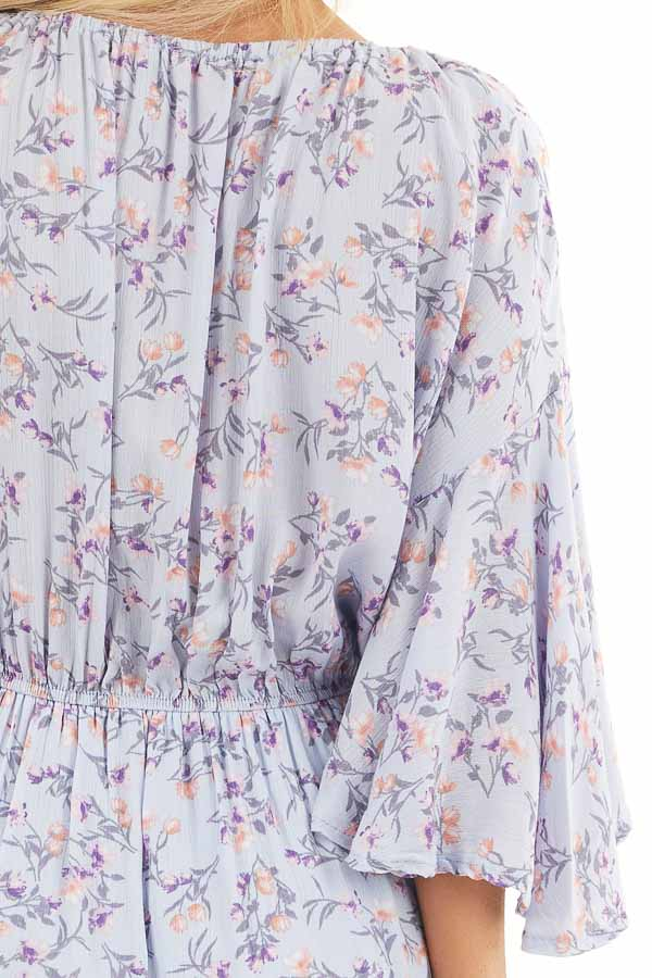 Pale Periwinkle Floral 3/4 Sleeve Romper with Front Tie detail
