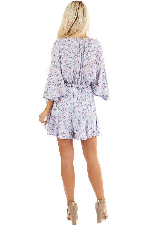 Pale Periwinkle Floral 3/4 Sleeve Romper with Front Tie back full body