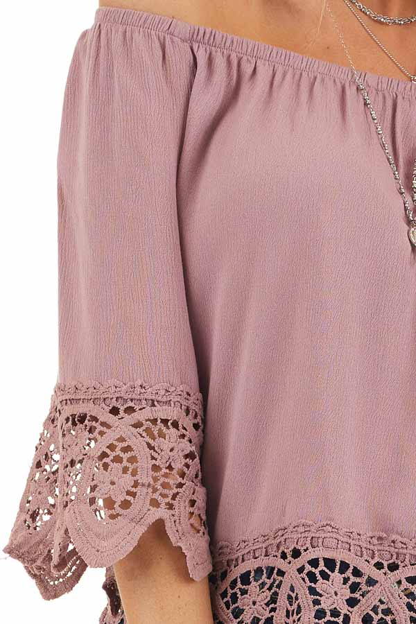 Mauve Off the Shoulder Woven Top with Crocheted Details detail