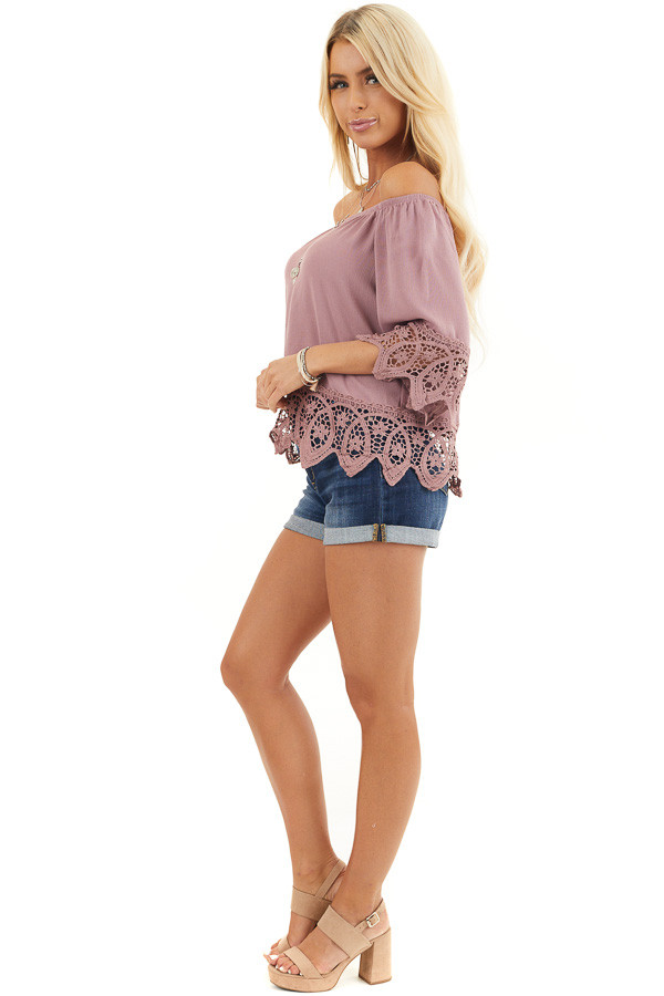 Mauve Off the Shoulder Woven Top with Crocheted Details side full body