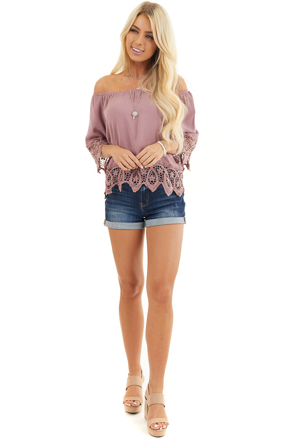 Mauve Off the Shoulder Woven Top with Crocheted Details front full body
