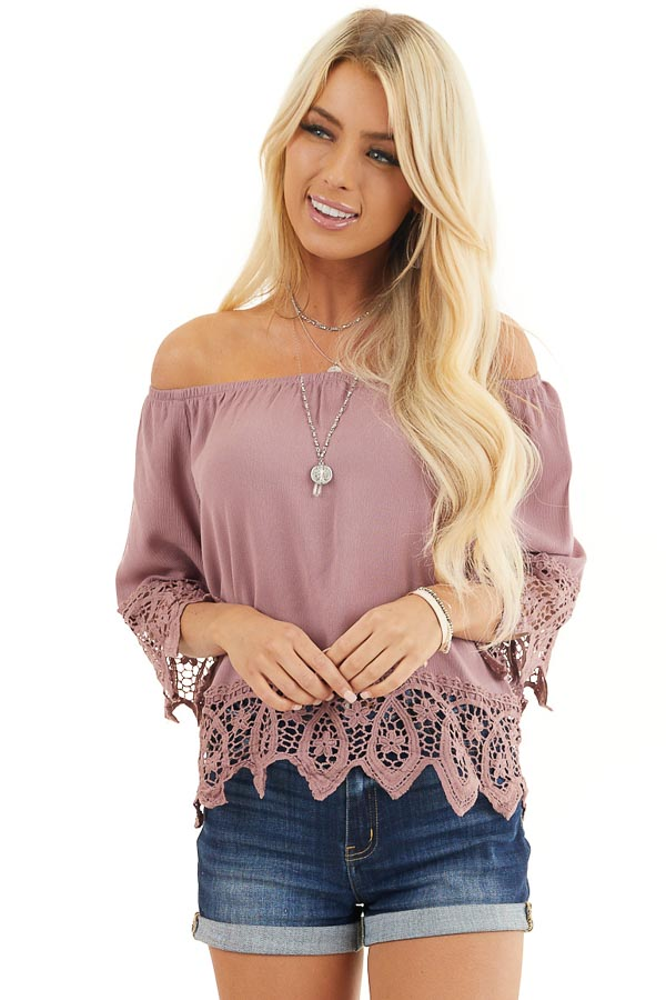 Mauve Off the Shoulder Woven Top with Crocheted Details front close up