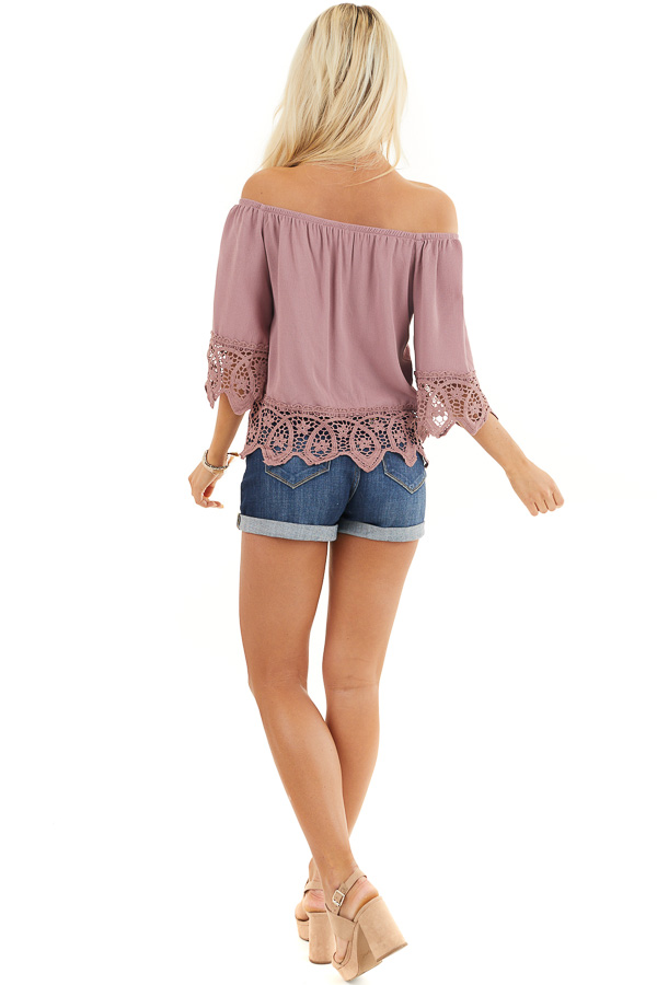 Mauve Off the Shoulder Woven Top with Crocheted Details back full body
