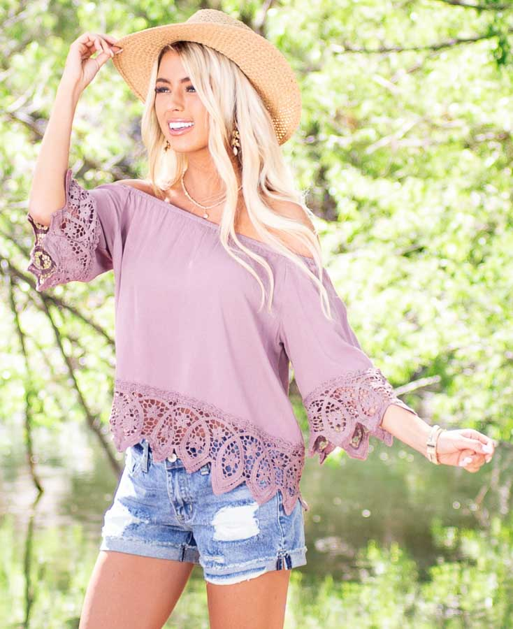 Mauve Off the Shoulder Woven Top with Crocheted Details
