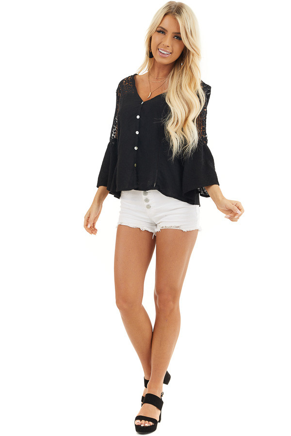 Black Button Up Blouse with Bell Sleeves and Crochet Details front full body
