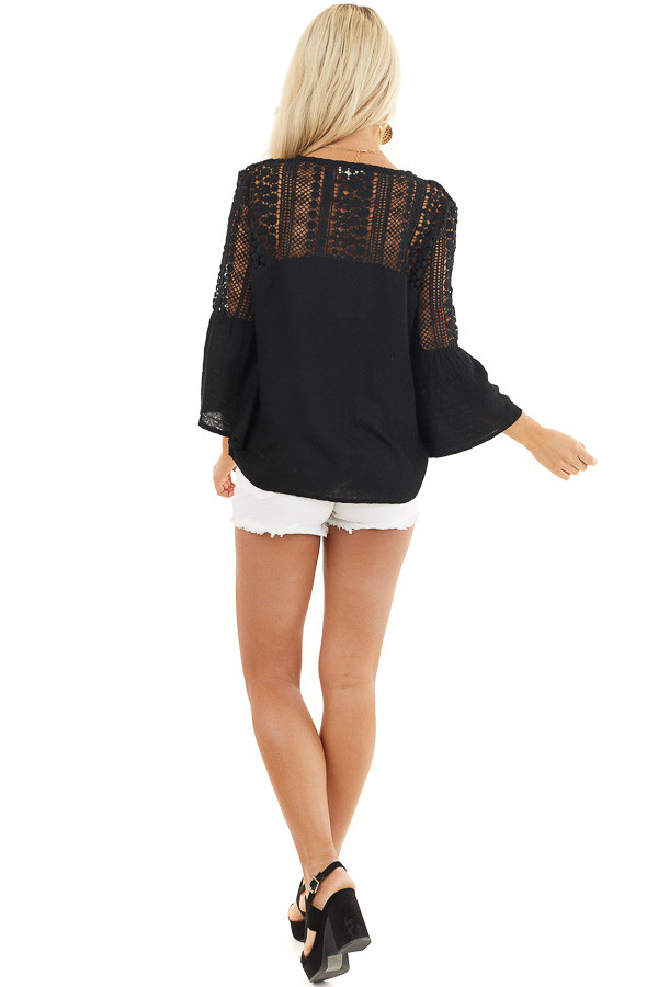 Black Button Up Blouse with Bell Sleeves and Crochet Details back full body