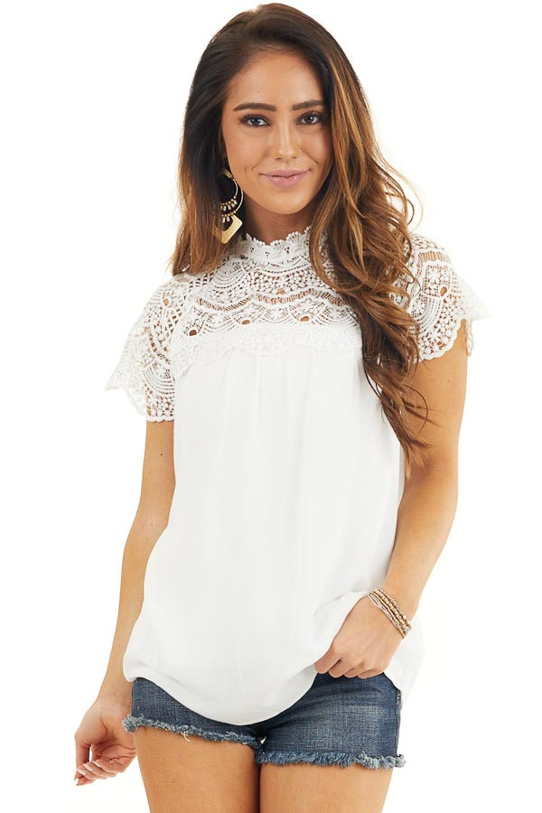 White Mock Neck Woven Top with Sheer Lace Yoke front close up