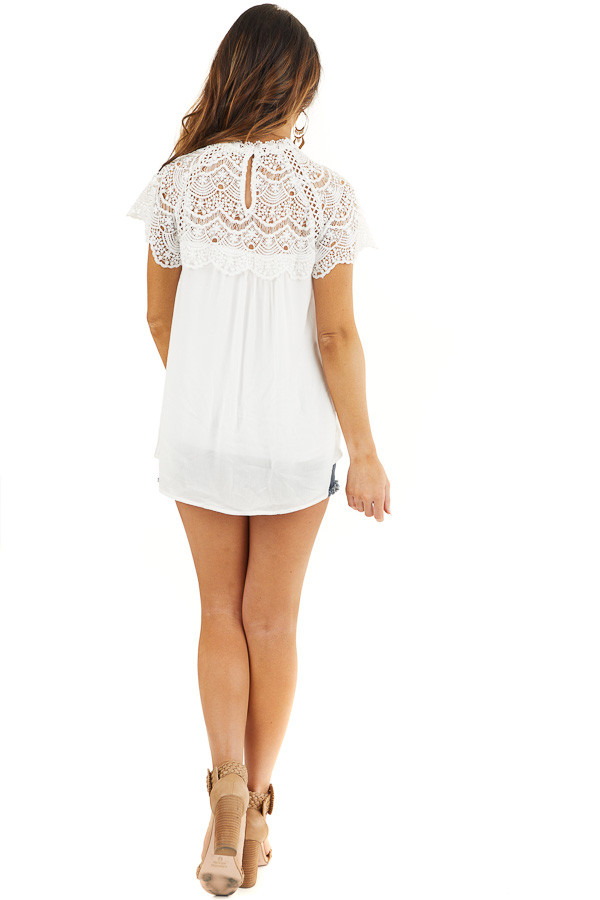 White Mock Neck Woven Top with Sheer Lace Yoke back full body