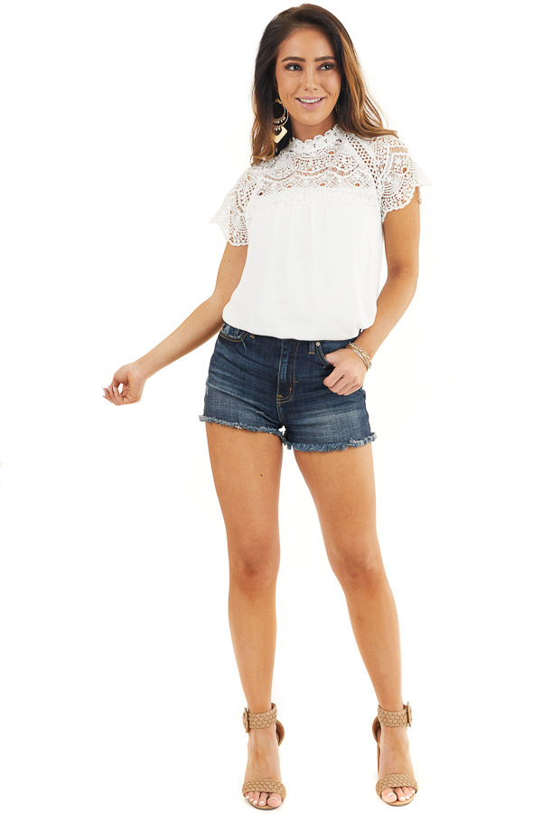 White Mock Neck Woven Top with Sheer Lace Yoke front full body