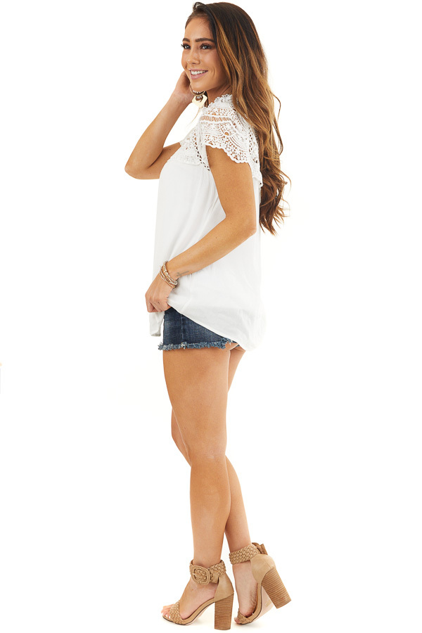 White Mock Neck Woven Top with Sheer Lace Yoke side full body